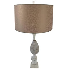 Large Murano Table Lamp with Gold Inclusions and Custom Shade, circa 1960