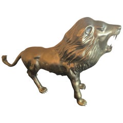 Vintage Brass Lion Statue Monumental Size Hollywood Regency