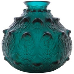 Fine Deepgreen Vase 'Fougeres' by R. Lalique