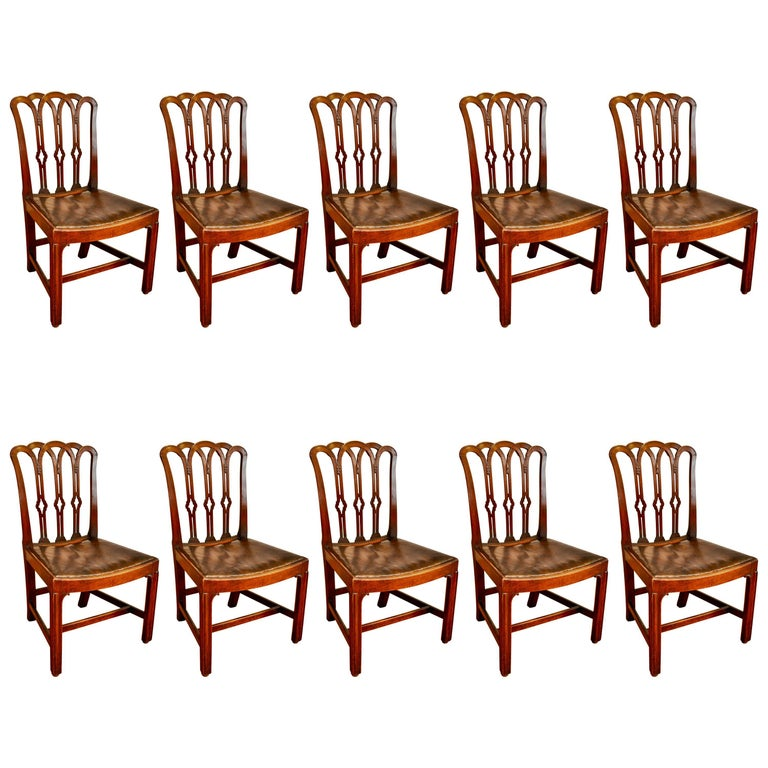 Set of Ten Period 18th Century George III Chippendale Dining Chairs