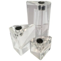 Set of Three Triangular Acrylic Candlesticks