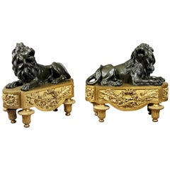 Fine Pair of Late 19th Century Gilt and Patina Bronze Chenets