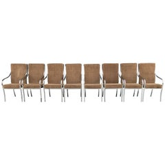 Set of Eight Chrome and Velvet Dining Chairs