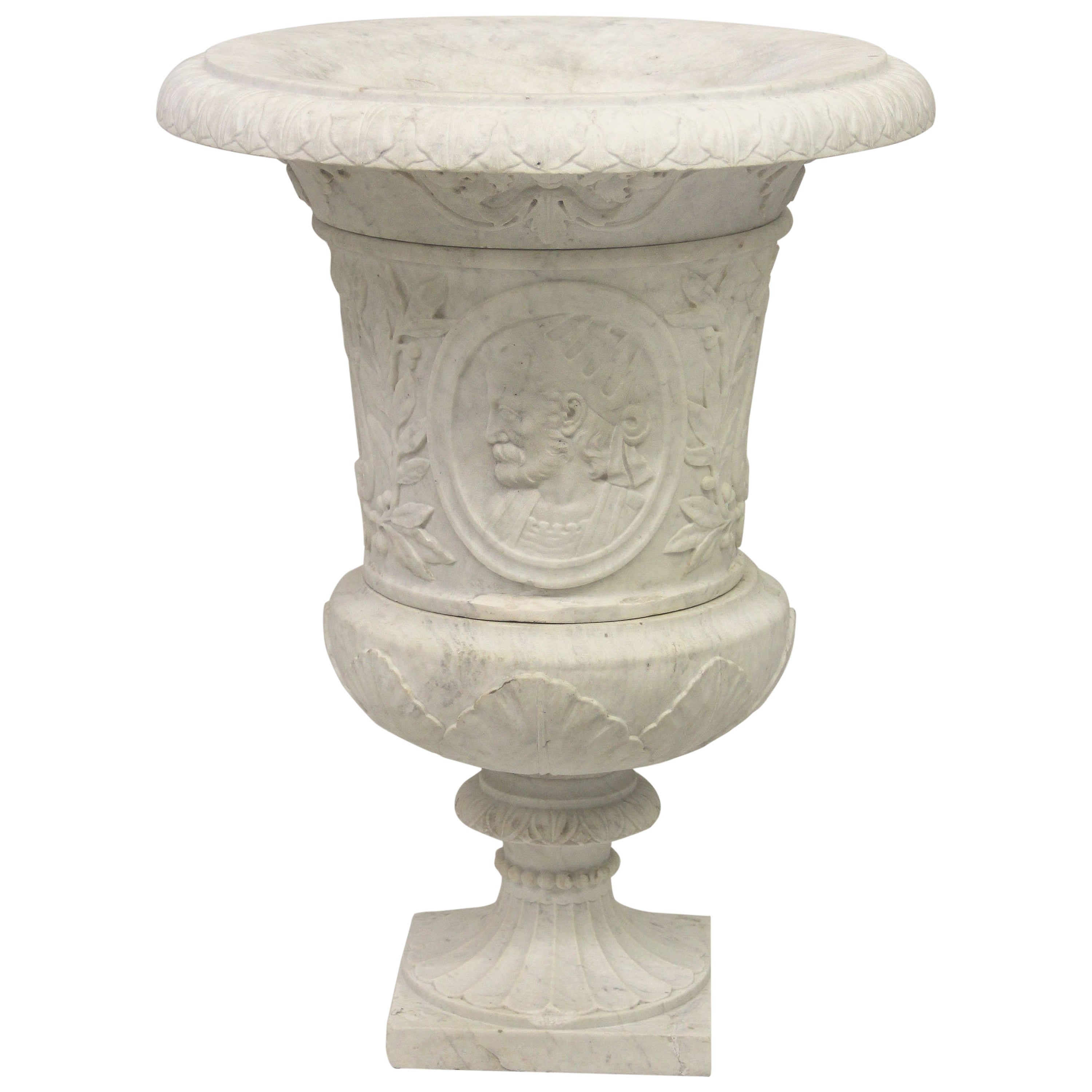 Very Fine Late 19th Century Hand-Carved Carrera Marble Urn