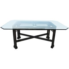 Chinese Chippendale Dining Table with Glass Top
