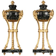 Pair of Late 19th Century Gilt Bronze Mounted Verde Antico Marble Cassolettes