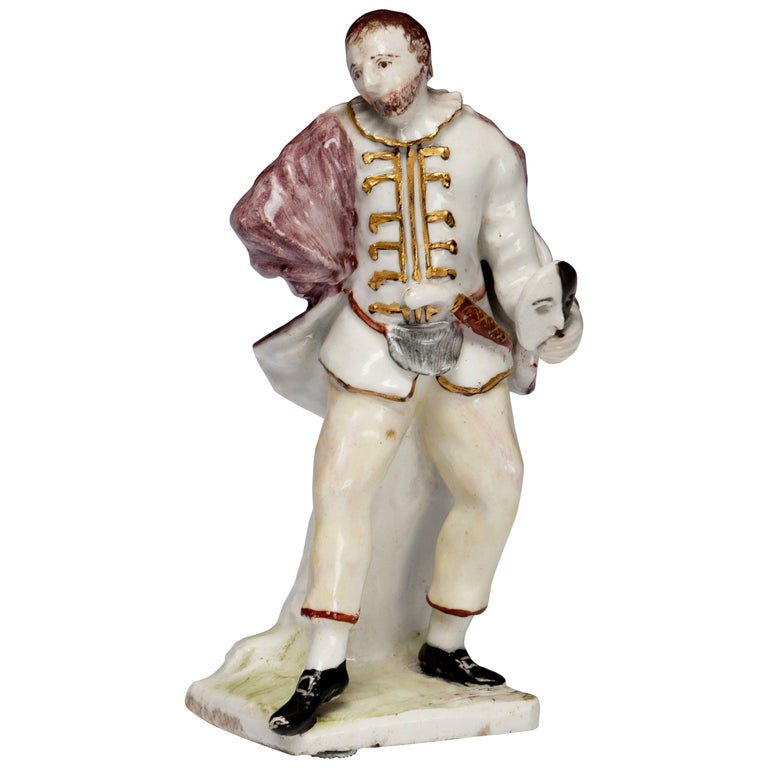 Figure 'Scapino,' from the Commedia Dell'arte, Bow Porcelain, circa 1751