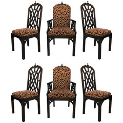 Six Chinese Chippendale Dining Chairs