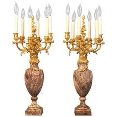 19th Century Régence Style Gilt Bronze and Marble Candelabra by Robert Freres