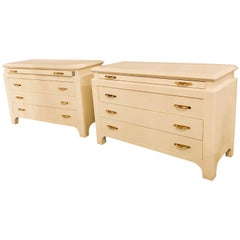 Pair of Custom Quality Commodes or Chests Linen Wrapped