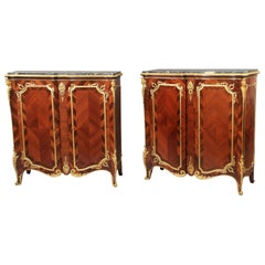 Pair of Late 19th Century Gilt Bronze Mounted Parquetry Marble Top Cabinets