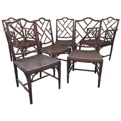Set of Six Chinese Chippendale Faux Bamboo Dining Chairs