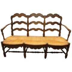 Triple Back French Provincial Bench or Settee