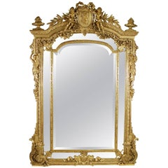 French, 19th Century Louis XV Style Giltwood Carved and Gesso Figural Mirror