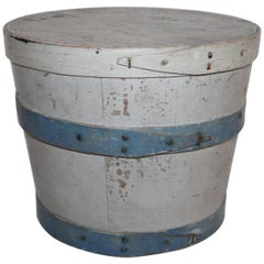 19th Century Original Painted Lard Bucket