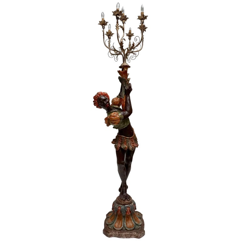 Hand-Painted Venetian Candelabra Floor Lamp