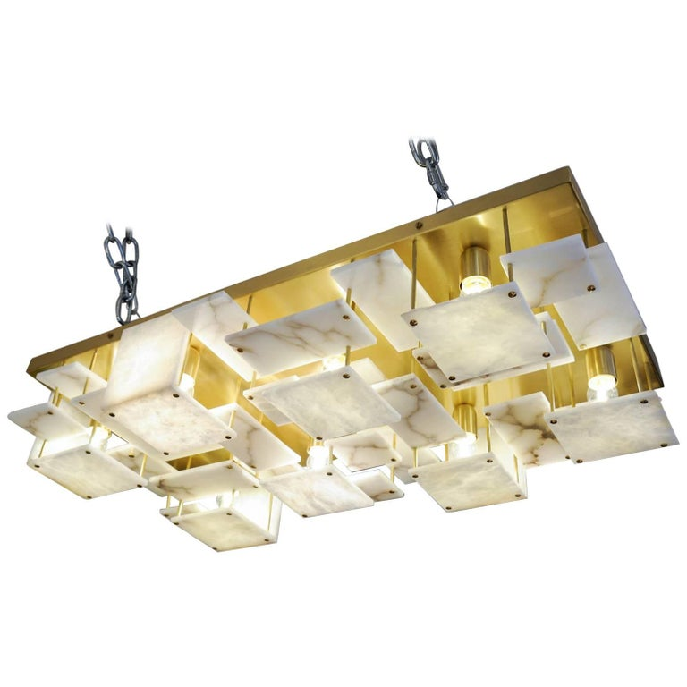 Glustin Luminaires Creation Brass and Alabaster Tiles Ceiling Lamp