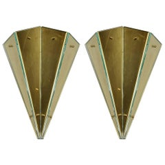 Pair of Sconces in Metal and Glass