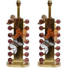Pair of Table Lamps with Butterflies in Murano Glass