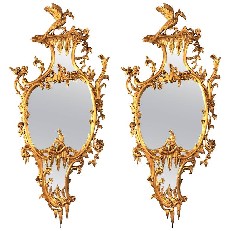 Pair Of George Ii Style Giltwood Wall Or Console Mirrors With Phoenix Carvings