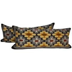 Navajo Indian Weaving Bolster Pillows, Two