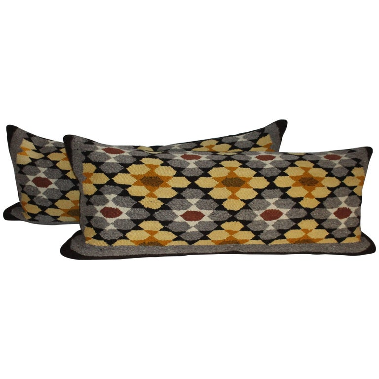 Navajo Indian Weaving Bolster Pillows, Two For Sale