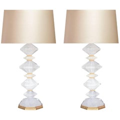 Pair of Diamond Form Rock Crystal Quartz Lamps