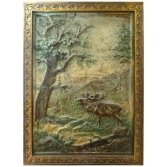 Elk, Nature Scene Cast Iron Plaque by Bradley Hubbard Co., circa 1880