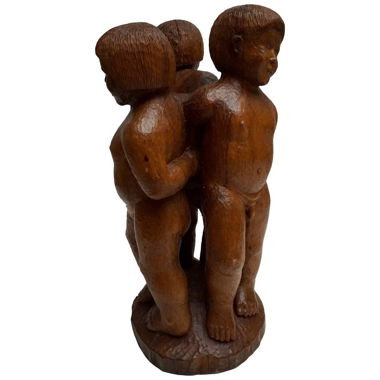 Sculpture in Wood of Three Young Nudes For Sale
