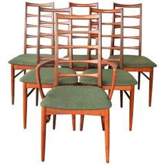 Danish Set of Six Teak Two-Tone Liz Chairs, Niels Koefoeds for Koefoeds Hornslet