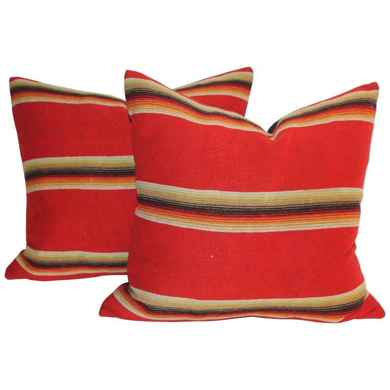 Mexican / American Early Wool Serape Pillows For Sale