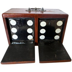Two-Sided Four-Door Box with Pair of Dice, Magic Trick, circa 1890