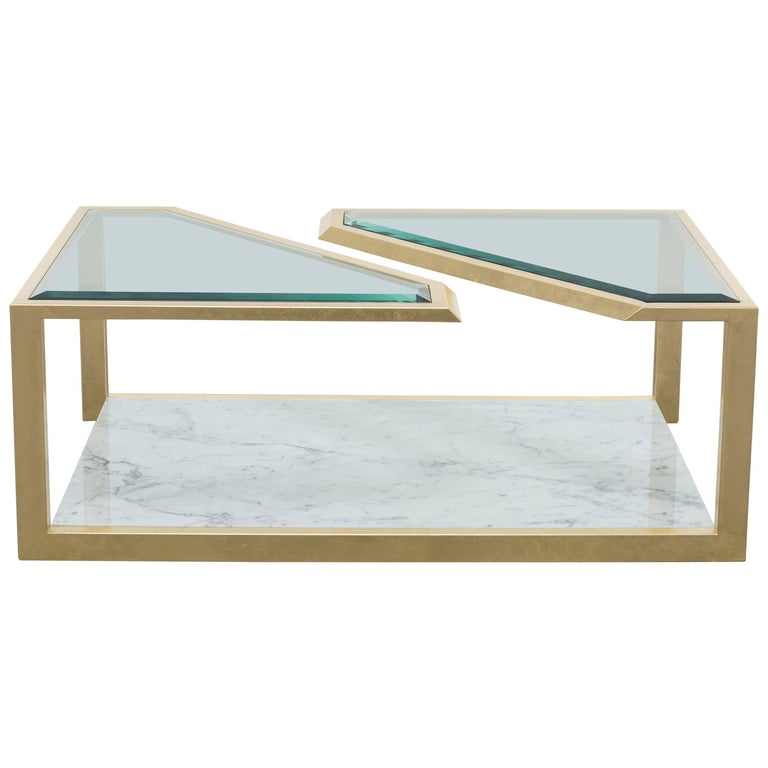 PIERRE COFFEE TABLE - Modern Carrara Marble Table with Gold Leaf over Iron For Sale