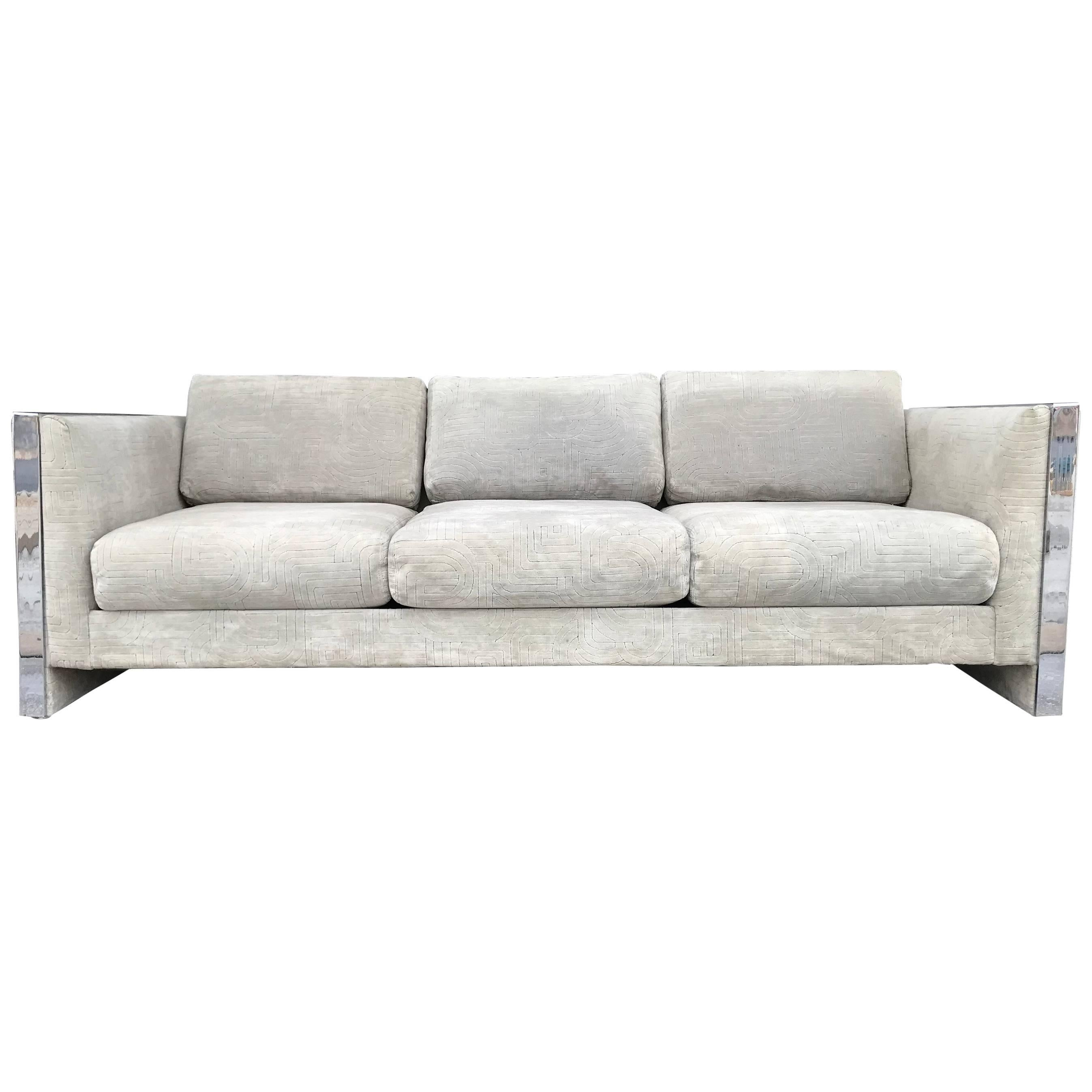 Selig Monroe Chrome Accent Sofa For Sale