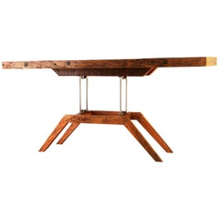 "Modern Console Table, Brazilian Hardwood and Steel the ""La Fiera"" by Deodato"
