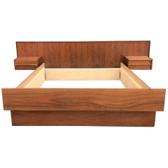Midcentury Danish Teak Floating Queen Bed