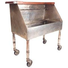 1920s Joseph Heinrichs Hammered Silver Champagne Service Wet Bar Cart
