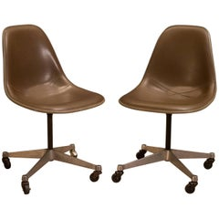 Vintage Herman Miller Padded Fiberglass Swivel Chairs