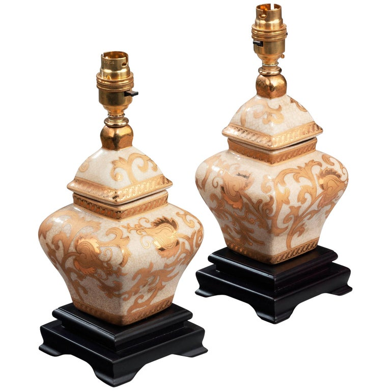 Pair of Clobbered Crackleware Lamps