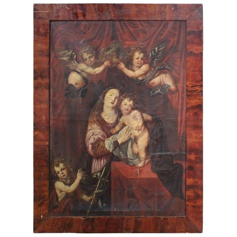 Italian Religious Painting Oil on Canvas Coronation of Virgin 18th Century
