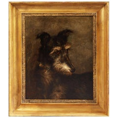 Oil Painting of a Lurcher