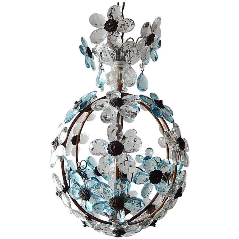 French Aqua Blue Flower Ball Crystal Prisms Maison Baguès Style Chandelier