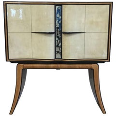 Fine Parchment and Maple Bar Cabinet by Paolo Buffa, Italy, 1940