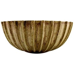 Arne Bang Stoneware Bowl with Fluted Corpus