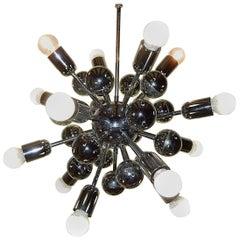 Midcentury Chrome Sixteen-Light Sputnik Ball Chandelier