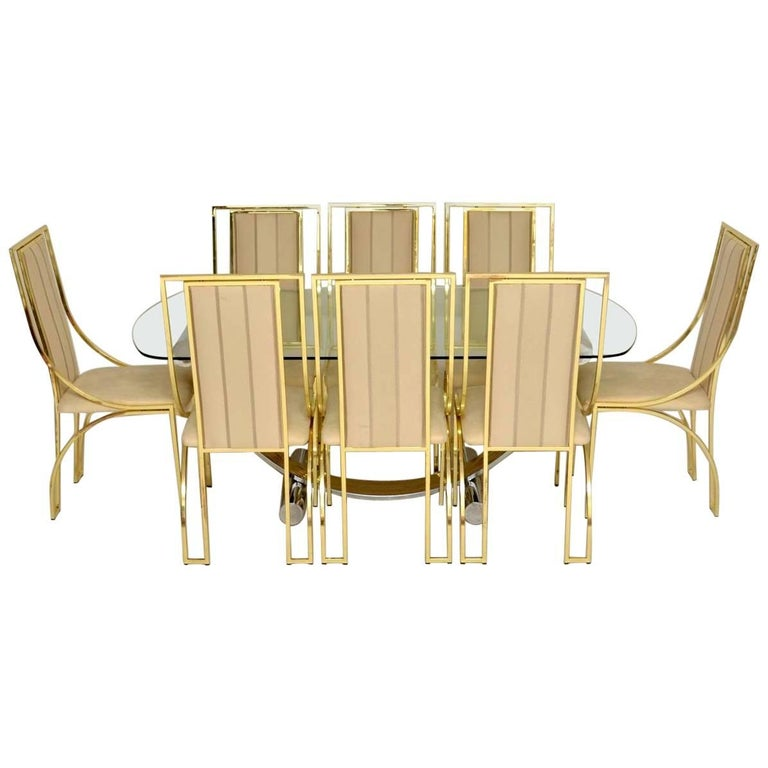 1970s Italian Vintage Dining Table and eight Chairs by Renato Zevi