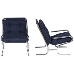 Chromed Metal Frame Armchair and Blue Upholstery