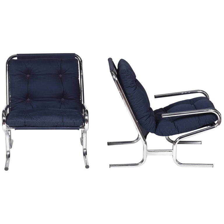 Midcentury brazilian chromed Metal Frame Armchair and Blue Upholstery, 1970s