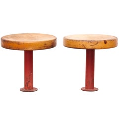 Pair of Rare Charlotte Perriand Stools for Les Arcs, circa 1960
