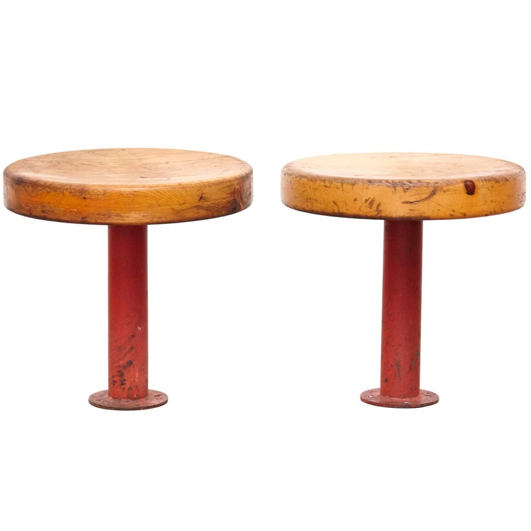 Pair of Rare Charlotte Perriand Stools for Les Arcs, circa 1960 For Sale
